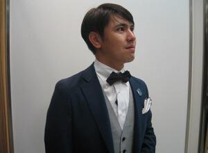 ボタンダウンシャツ&蝶ネクタイのコーディネート