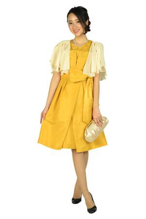 画像:黄色のシャンタン素材ドレス