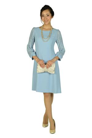 画像:サックスブルーの袖ありドレス