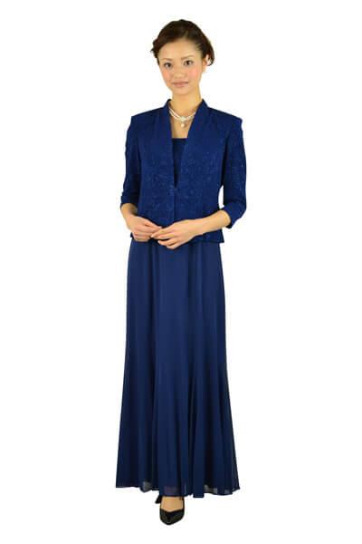 画像:ジャケット付ブルーロングドレス