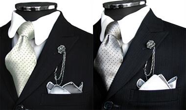 ゴールド・シルバーグレーのネクタイ