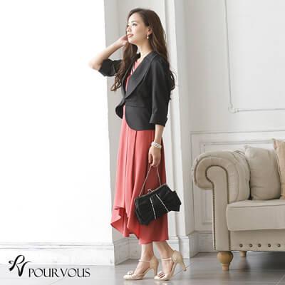 画像:ローズピンクのマキシ丈ノースリーブドレス&ジャケット