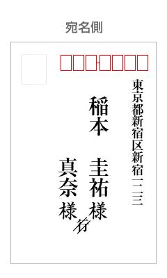 見本画像:縦書きはがきの表面(宛名が連名)