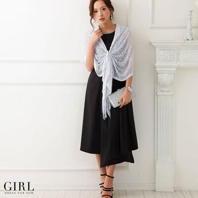 画像:シルバーショール&黒ドレス