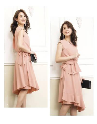 画像:ピンクのラップスカートドレス
