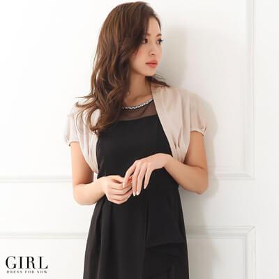 画像:黒ドレス&ピンクのボレロ
