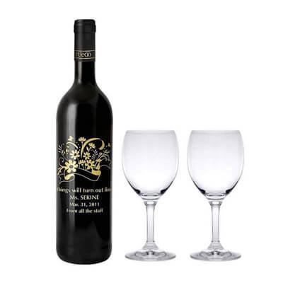 画像:グラスセット&名入れワインセット
